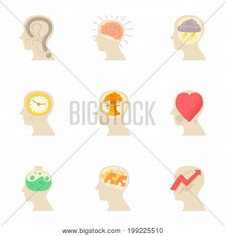 Thoughts in my head icons set. Cartoon set of 9 thoughts in my head vector icons for web isolated on white background