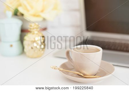 Feminine Workplace Concept. Freelance Fashion Comfortable Femininity Workspace With Laptop, Coffee,