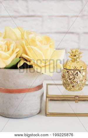 Feminine Workplace Concept. Freelance Fashion Comfortable Femininity Workspace With Flowers And Gold