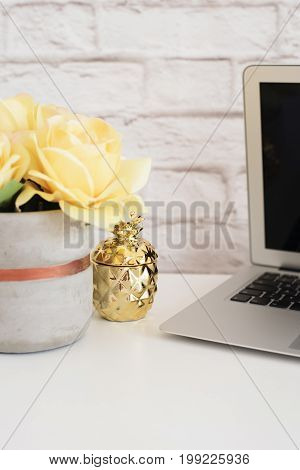 Brick Wall Product Display. Yellow Roses Mock Up. Styled Stock Photography. Golden Pineapple And Lap