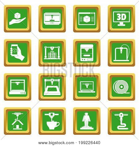 3D Printing icons set in green color isolated vector illustration for web and any design