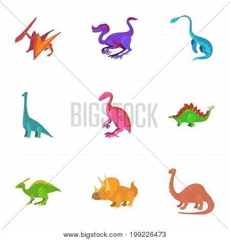 Funny dinosaur icons set. Cartoon set of 9 funny dinosaur vector icons for web isolated on white background
