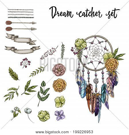 Set of hand drawn ornate Dreamcatcher flowers and various design elements isolated on white background. Vector