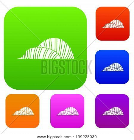 Cloud Forest and Flower Dome at Gardens by the Bay set icon in different colors isolated vector illustration. Premium collection