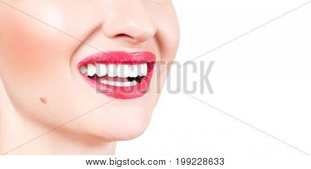 White Teeth And Red Lips.  Perfect Female Smile After Whitening Teeth.