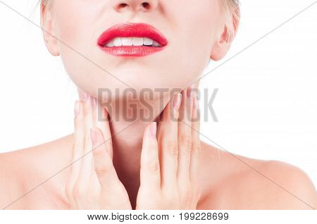 Young Woman Has Sore Throat Touching The Neck
