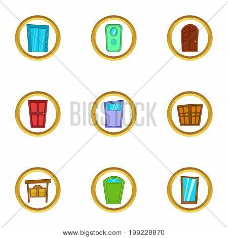 Front door icons set. Cartoon set of 9 front door vector icons for web isolated on white background