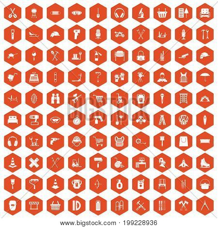 100 outfit icons set in orange hexagon isolated vector illustration