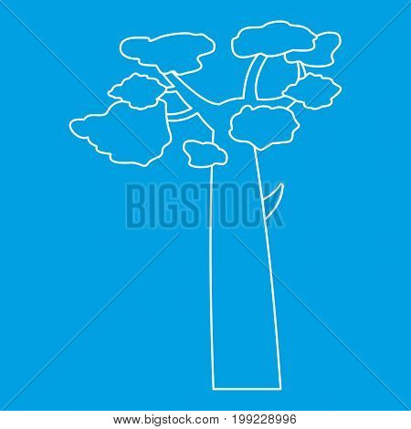 Baobab icon blue outline style isolated vector illustration. Thin line sign