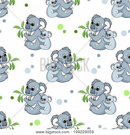 Seamless pattern with cute Koala. Koala with baby, vector illustration.