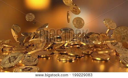 3D rendering Bitcoin currency, crypto currency, falling on a pile