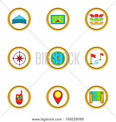 Cartography icons set. Cartoon set of 9 cartography vector icons for web isolated on white background