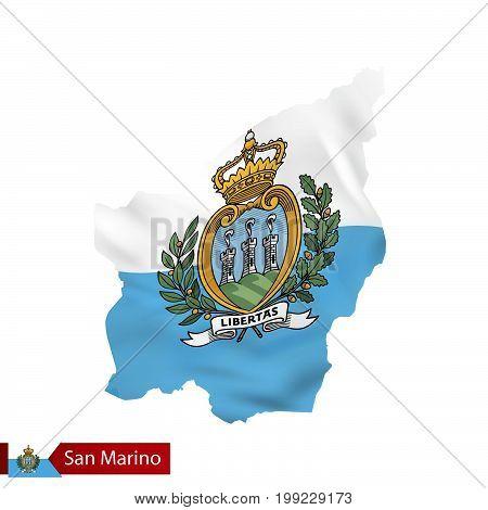 San Marino Map With Waving Flag Of San Marino.