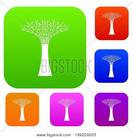 Singapore Supertree at the Gardens By The Bay set icon in different colors isolated vector illustration. Premium collection