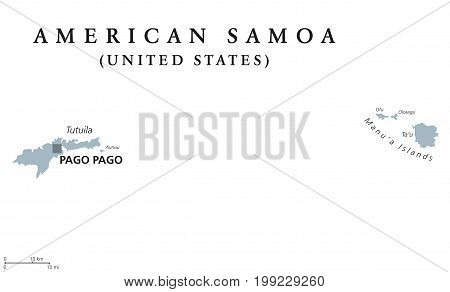 American Samoa political map with capital Pago Pago. English labeling. Unincorporated territory of the United States in the South Pacific Ocean southeast of Samoa. Gray illustration over white. Vector
