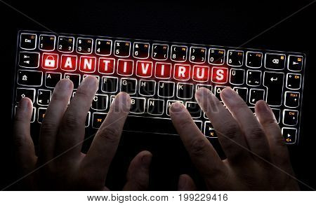 Antivirus keyboard is operated by hacker picture