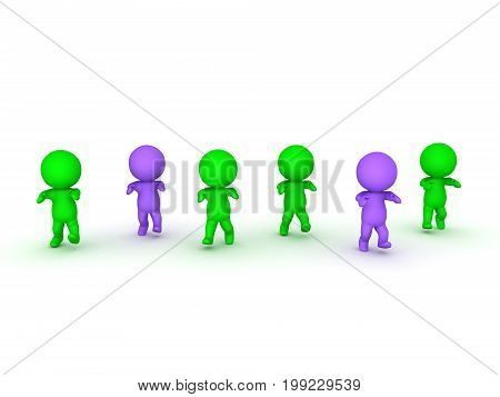 3D illustration of green and purple zombies shambling forward. Image depicting zombie apocalypse.