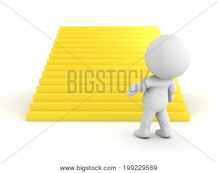 3D Character looking at large golden stairs. Isolated on white.