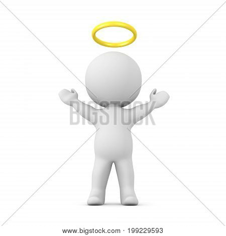 3D Character with a gold halo above his head with his arms raised. Isolated on white.