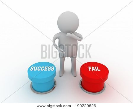 button success and fail concept . 3d rendered illustration