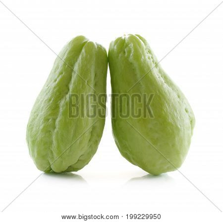 Chayote isolated close up on white background .