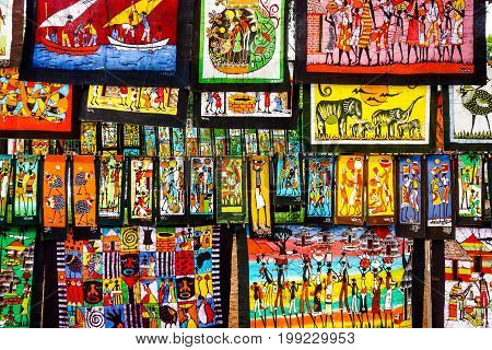African artwork for sale at Feima Market, Maputo, Mozambique, Africa , FEB 2017