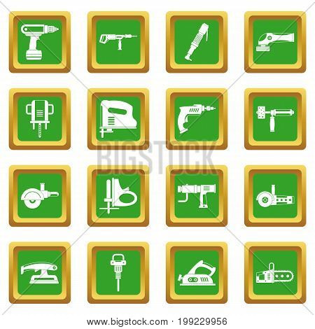 Electric tools icons set in green color isolated vector illustration for web and any design