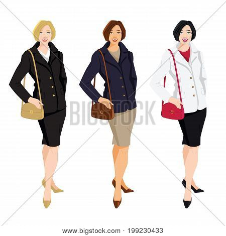 Vector illustration of brunette woman in jacket and red skirt  isolated on white background