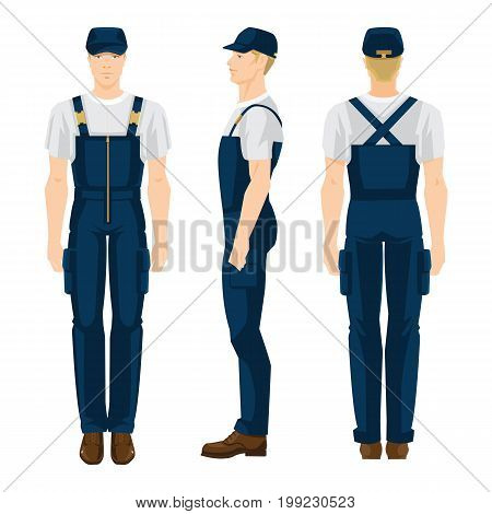 Vector illustration of worker man in uniform isolated on white background. Various turns man's figure. Front view, side and back view.