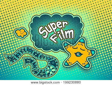 Doodle star in pop art cartoon comic retro style pointing on Speech bubble with halftone and inscription Super film for Rating or recommendation for watching a movie