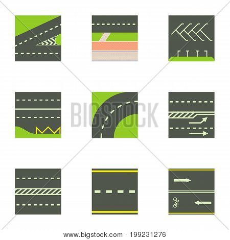 Urban road icons set. Cartoon set of 9 urban road vector icons for web isolated on white background