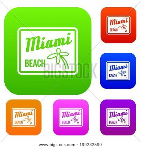 Miami beach set icon in different colors isolated vector illustration. Premium collection
