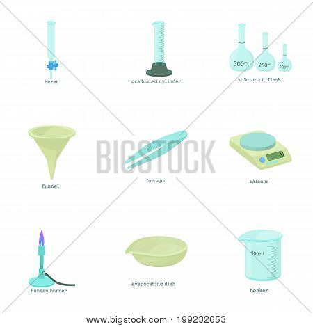 Medical equipment icons set. Cartoon set of 9 medical equipment vector icons for web isolated on white background