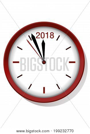 illustration of a new year night count down clock into 2018