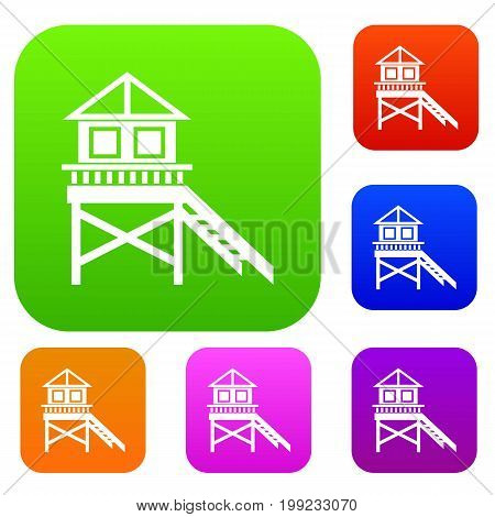 Wooden stilt house set icon in different colors isolated vector illustration. Premium collection