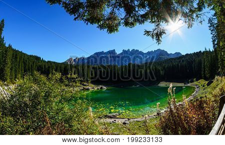 Karersee - Lago di Carezza A lake in the Dolomites in South Tyrol Italy - Fisheye