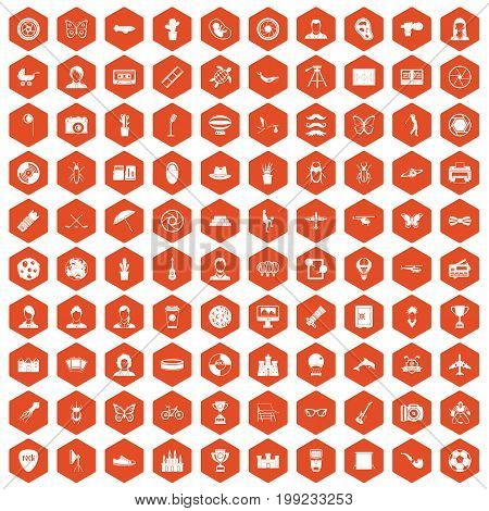 100 photo icons set in orange hexagon isolated vector illustration