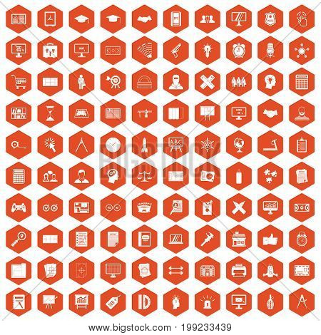 100 plan icons set in orange hexagon isolated vector illustration