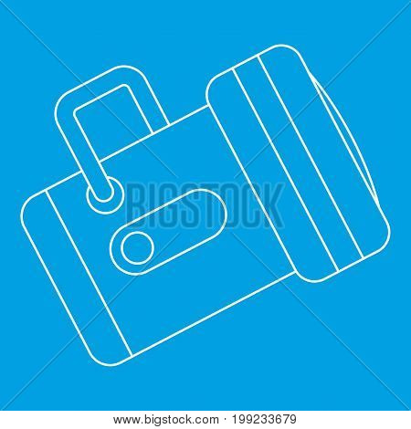 Flashlight icon blue outline style isolated vector illustration. Thin line sign