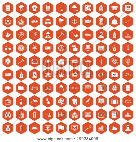 100 police icons set in orange hexagon isolated vector illustration