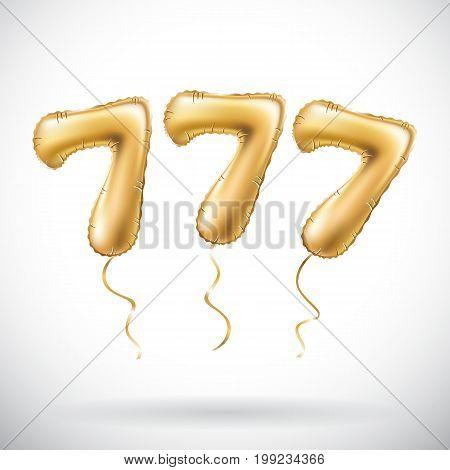 Vector Golden Number 777 Seven Hundred And Seven Metallic Balloon. Party Decoration Golden Balloons.