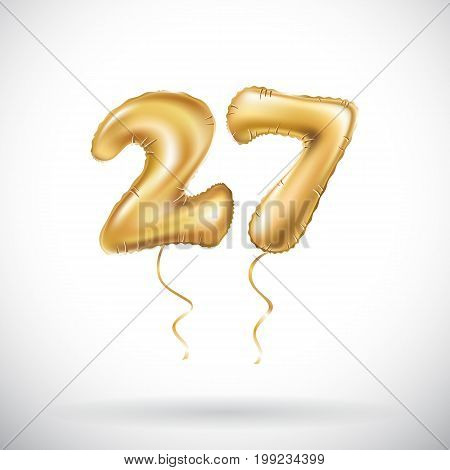 Vector Golden Number 27 Twenty Seven Metallic Balloon. Party Decoration Golden Balloons. Anniversary