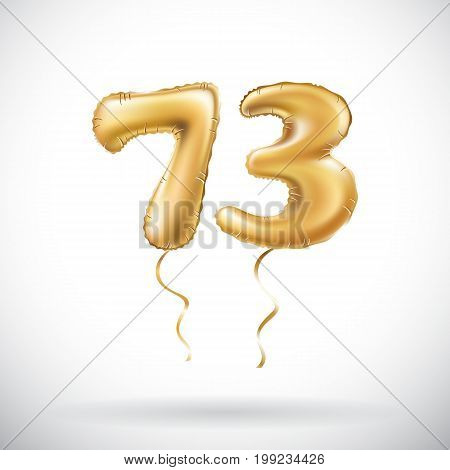 Vector Golden Number 73 Seventy Three Metallic Balloon. Party Decoration Golden Balloons. Anniversar