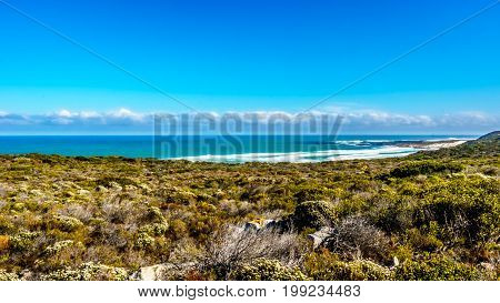 The Atlantic Ocean between Cape of Good Hope and Platboom Beach in the Cape of Good Hope Nature Reserve in the Cape Peninsula of South Africa