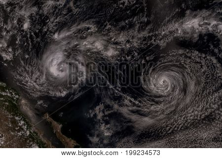 Cyclone over planet Earth. Elements of this image are furnished by NASA