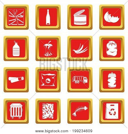 Waste and garbage for recycling icons set in red color isolated vector illustration for web and any design