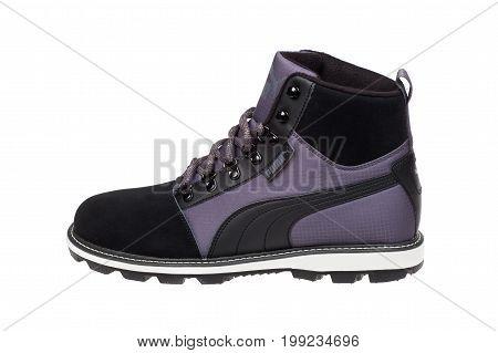 Varna Bulgaria - OCTOBER 12 2016: PUMA winter leather men shoe. Puma a major German company.Product shot