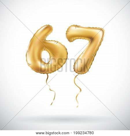 Vector Golden Number 67 Sixty Seven Metallic Balloon. Party Decoration Golden Balloons. Anniversary