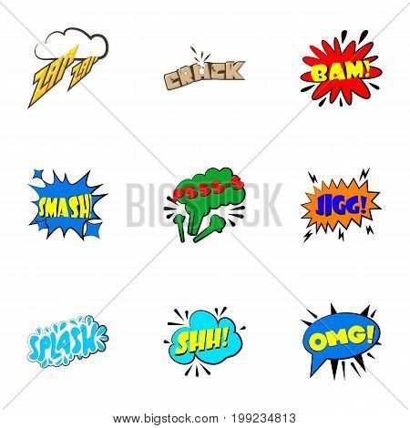 Dialog speech bubbles icons set. Cartoon set of 9 dialog speech bubbles vector icons for web isolated on white background