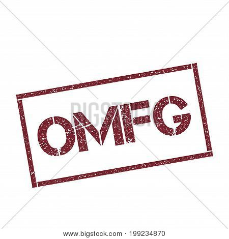 Omfg Rectangular Stamp. Textured Red Seal With Text Isolated On White Background, Vector Illustratio